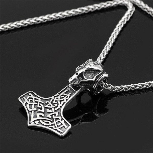 skull thor hammer pendant necklace