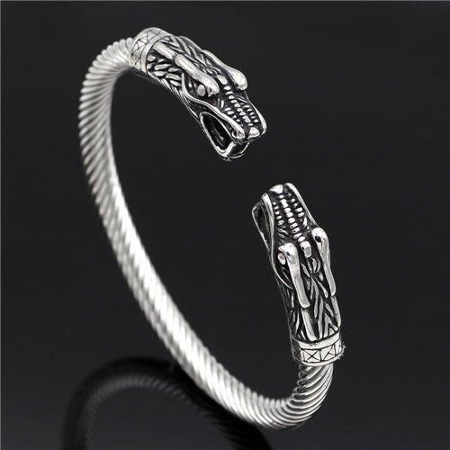 Vintage nordic viking wolf head bracelet