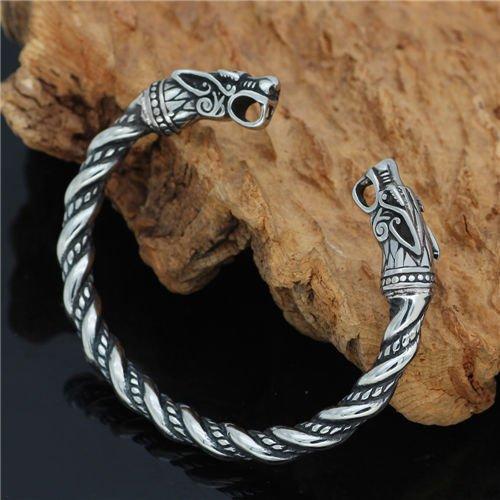 Vintage nordic viking fenrir bracelet