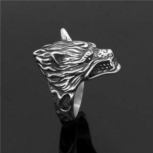 Nordic Viking Odin wolf head ring