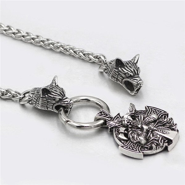 Viking warrior odin raven rune pendant necklace