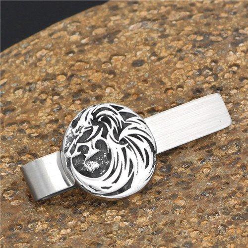 Nordic Viking titanium steel wolf tie clip