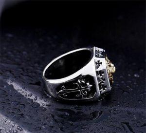 brass men lion's head ring