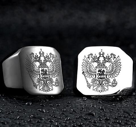 Stainless steel men's masonic eagle ring