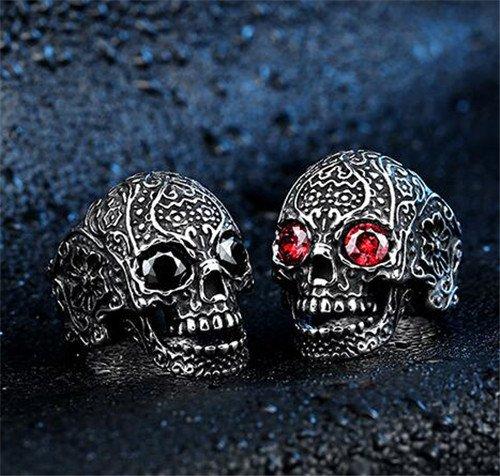 Punk titanium steel skull ring