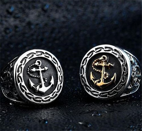 Pirate stainless steel anchor ring