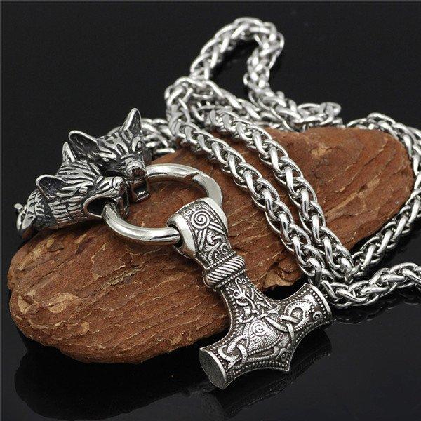 Wolf hammer necklace