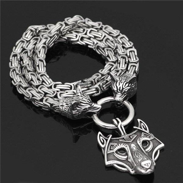 Viking Odin Celtic Wolf pendant necklace