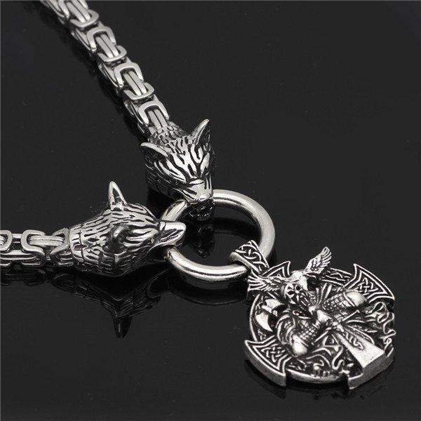 Viking Odin Wolf pendant necklace