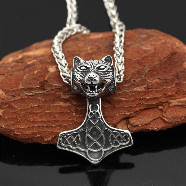 Wolf head thor hammer necklace