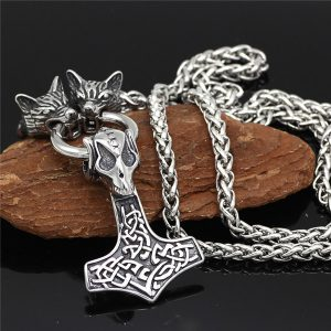 wolf head thor hammer necklace pendant
