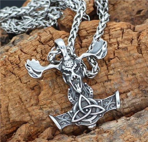 Viking odin celtic thor hammer pendant necklace