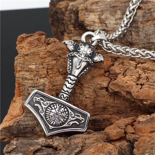 Viking Odin raven Wolf thor hammer necklace