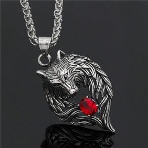 Viking wolf head gemstone pendant necklace