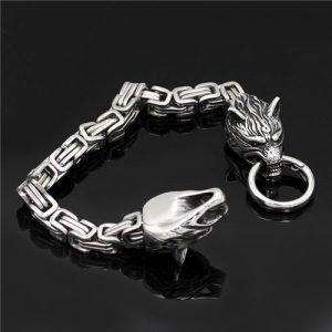 Viking Wolf head bracelet