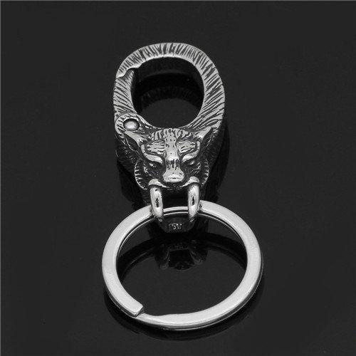 Viking stainless steel Wolf head keychain