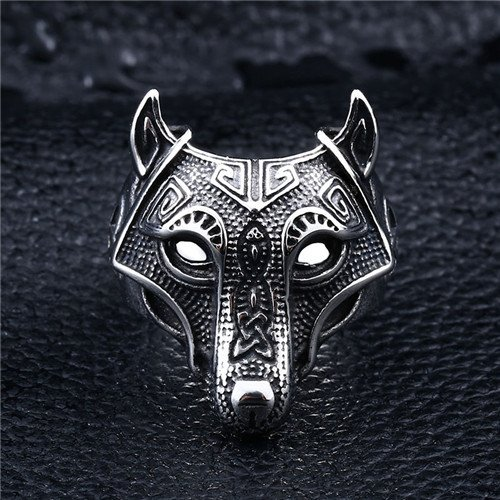Celtic knot viking wolf head stainless steel ring