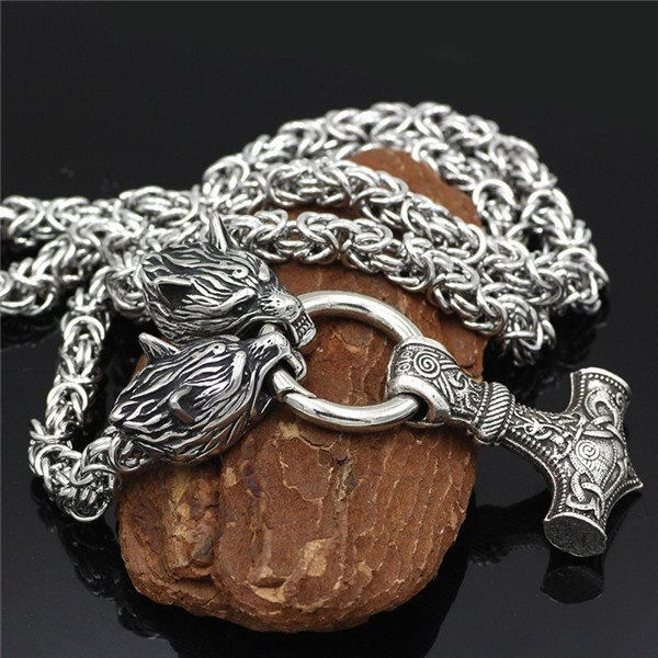 thor hammer wolf head necklace