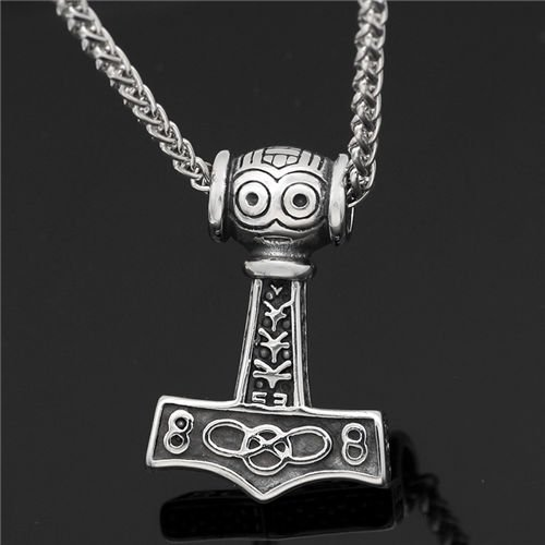 Viking thor hammer necklace for men