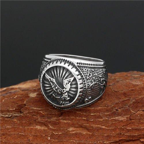 Nordic viking crow ring