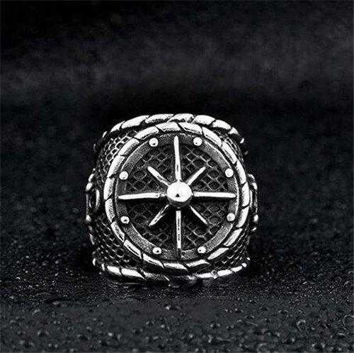 Pirate stainless steel men's anchor ring