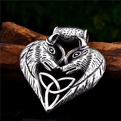 Viking Wolf Celtic knot necklace pendant