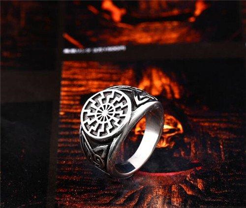 Viking black sun symbol ring