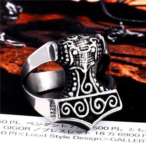 Viking thor's hammer ring