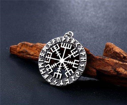 Viking rune compass necklace pendant