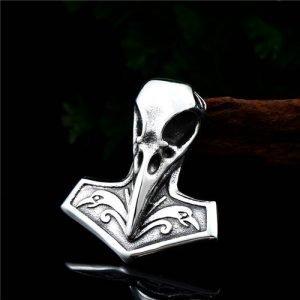 Viking Raven Thor hammer pendant