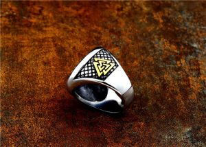 Viking stainless steel rune compass ring