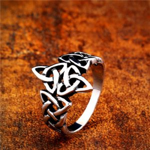 Unique women celtic knot stainless steel ring