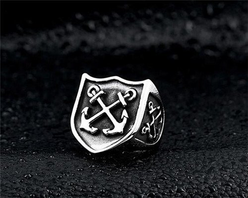 pirate sailor stainless steel anchor ring