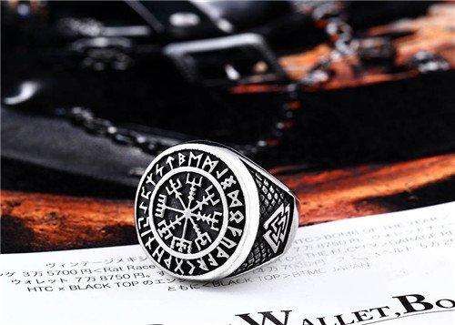 Viking stainless steel rune compass ring