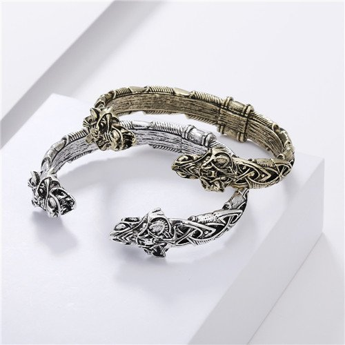 Viking wolf head bracelet jewelry