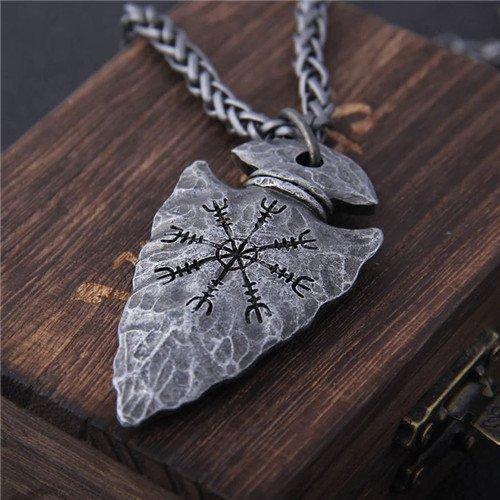 Viking rune vegvisir Compass necklace pendant