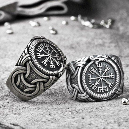 Viking men's compass & vegvisir ring