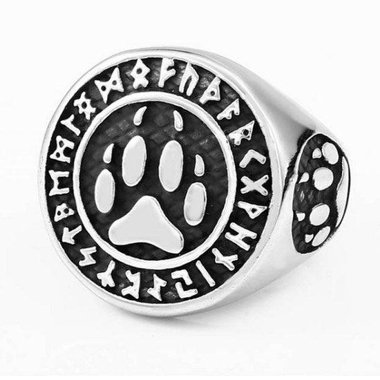 Viking bear paw and rune ring