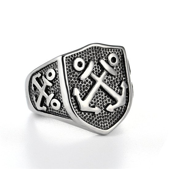 Pirate anchor mens ring