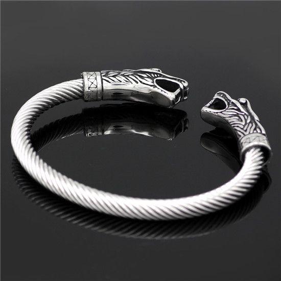 Norse viking dragon head bracelet