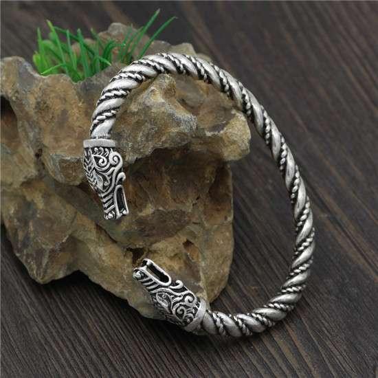 Viking wolf head copper bracelet