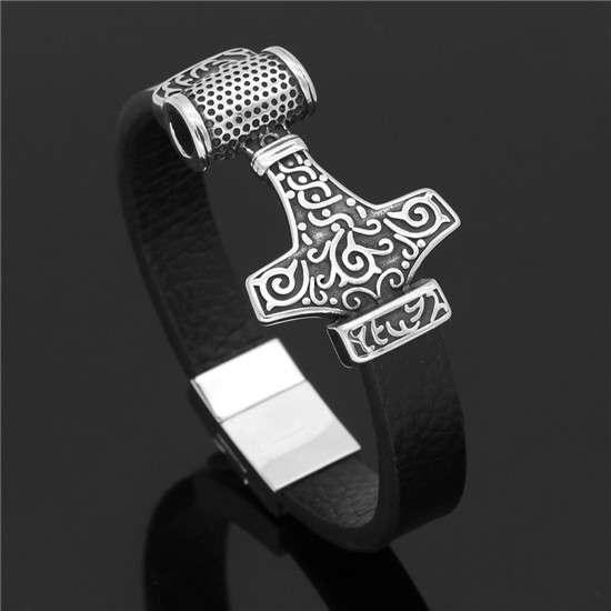 mjolnir leather bracelet