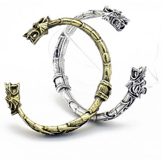 Viking fenrir wolf head bracelet