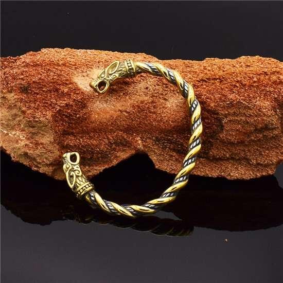 Viking wolf head torc bracelet