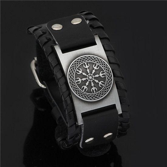 helm of awe leather bracelet