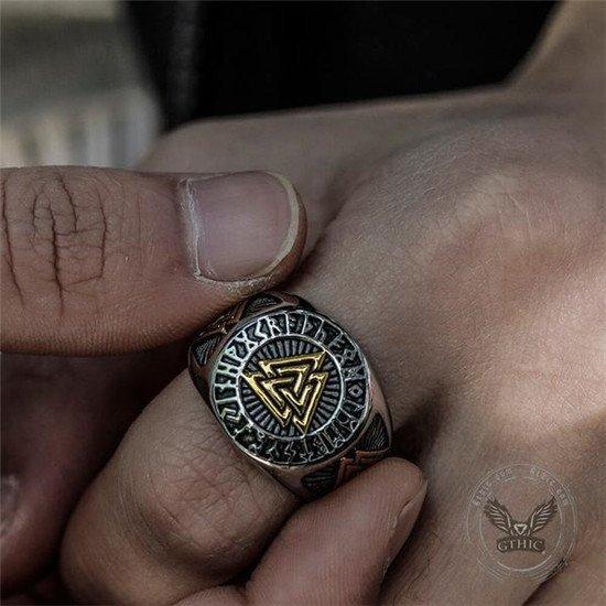 Viking valknut and rune ring